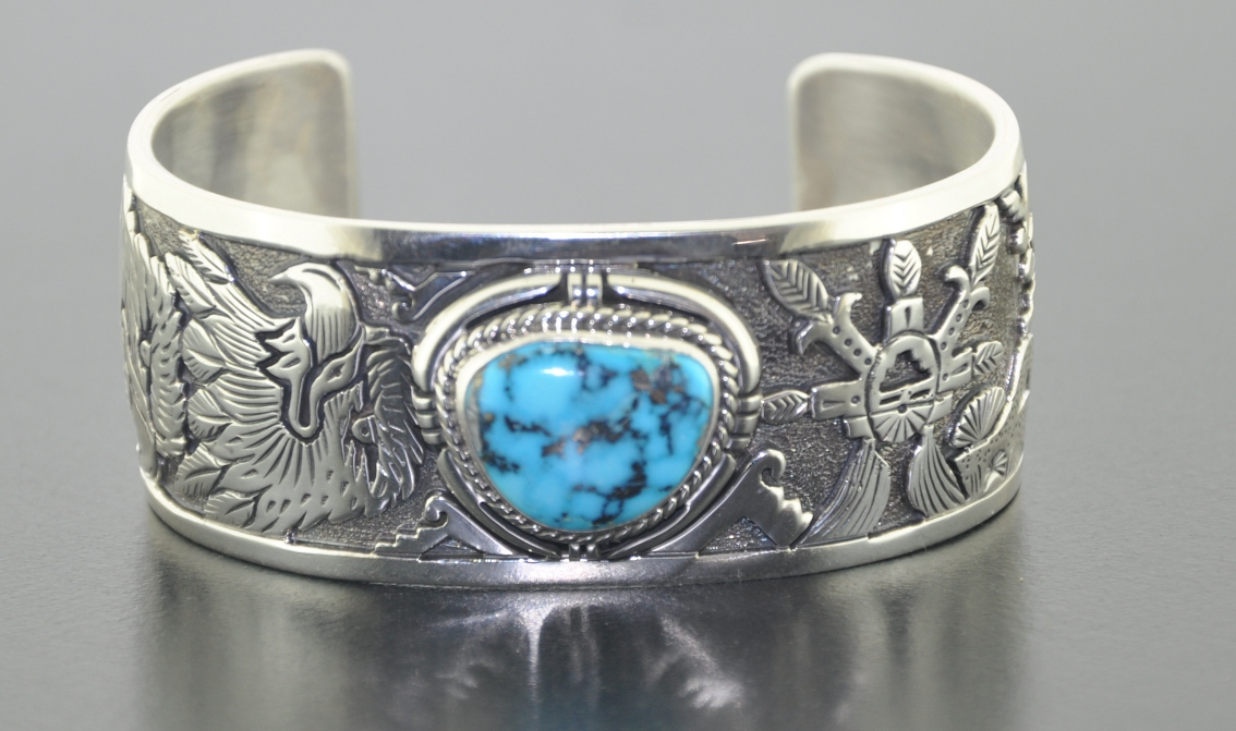 Arizona Sleeping Beauty Turquoise Hand Crafted Overlay Bracelet Mens And Lady Sizes