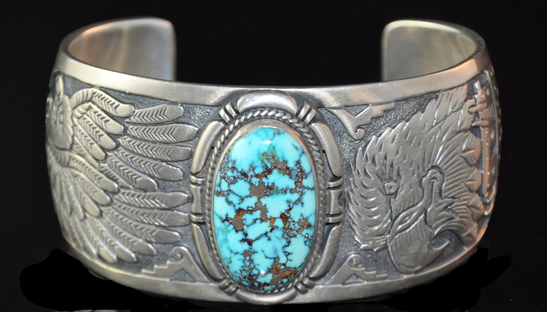 Sterling Silver Men S Cuff Bracelet Overlay Design With Eagles Set In Kingman Web Turquoise Artist Freddy Charley