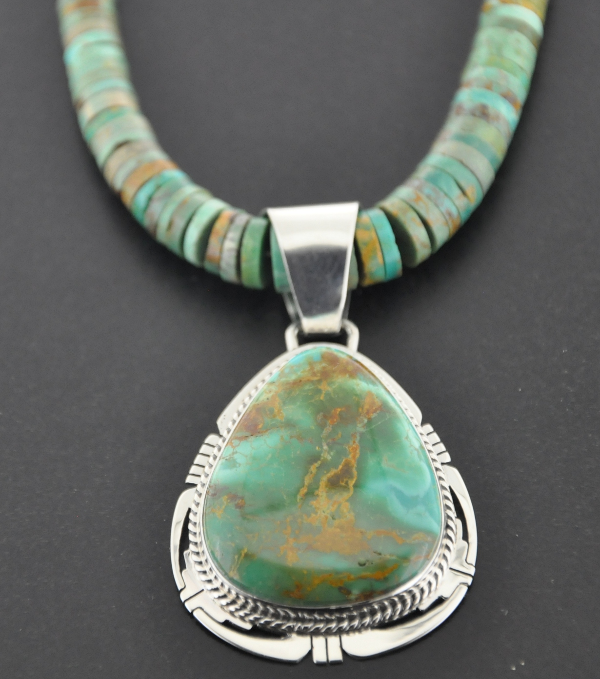 Turquoise jewelry green turquoise jewelry silver nugget inc sunnyside crow springs pendant strung on matching graduated hieshi artist phil sanchez aloadofball Image collections